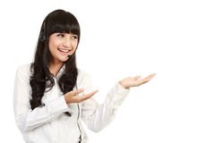 Portrait of asian businesswoman with headset Royalty Free Stock Image