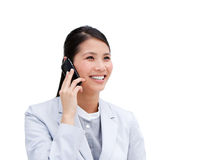 Portrait of an Asian businesswoman on phone Royalty Free Stock Photography