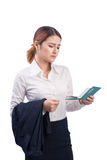 Portrait of asian businesswoman traveling with suitcase and hold stock image