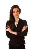 Portrait of asian caucasian business woman isolated over white Stock Photo
