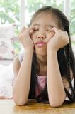 Portrait of asian child  in a depressed mood . Royalty Free Stock Photo