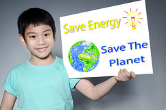 Portrait of Asian child with Eco concept Royalty Free Stock Images