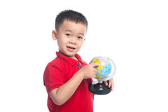 Portrait asian child holding earth globe map. In his hand Stock Photos