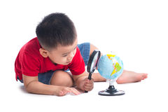 Portrait asian child holding earth globe map in his hand.  Royalty Free Stock Photo