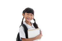 Portrait of asian child in school uniform smiling Royalty Free Stock Image