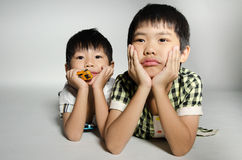 Portrait Of asian cute boys Royalty Free Stock Photo