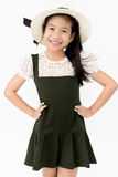 Portrait of asian cute girl with cotton hat, Royalty Free Stock Photography