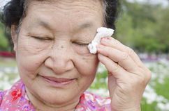 Portrait of asian elderly at the park Stock Photos