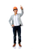 Portrait of asian engineer man point up Royalty Free Stock Images