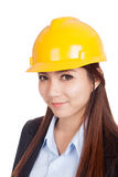 Portrait of Asian engineer woman with hardhat Royalty Free Stock Photos