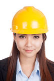 Portrait of Asian engineer woman with hardhat Stock Photography