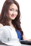 Portrait Asian Engineer with work concept Royalty Free Stock Photos