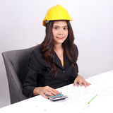 Portrait Asian Engineer with work concept in studio Stock Images