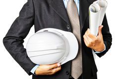 Portrait Asian Engineer with work concept in studio. Royalty Free Stock Photography