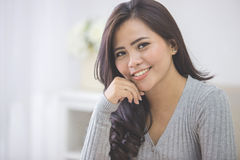 portrait asian female student at home. close up portrait Royalty Free Stock Photos