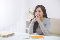 Portrait asian female student at home Stock Photography