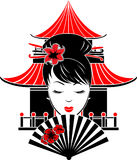 Portrait of Asian girl. On background of traditional house stencil Stock Photos