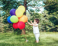 Portrait of asian girl with balloons Royalty Free Stock Photo