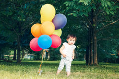Portrait of asian girl with balloons Royalty Free Stock Image