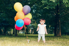 Portrait of asian girl with balloons Stock Image