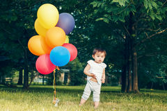 Portrait of asian girl with balloons Royalty Free Stock Photography