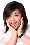 Portrait of asian girl feeling surprised Royalty Free Stock Image