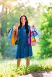 Portrait  asian girl with pack shopping Royalty Free Stock Images
