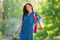 Portrait  asian girl with pack shopping Royalty Free Stock Photos