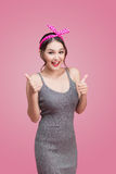 Portrait of asian girl with pretty smile in pinup style with han Stock Image