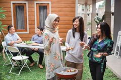 Asian people barbecue with friends stock image