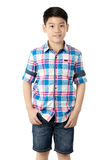 Portrait of asian happy boy smile face and looking at camera on Royalty Free Stock Photo