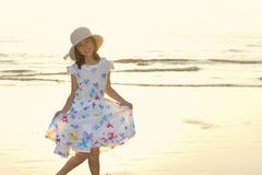 Portrait of Asian kid on the beach Stock Photos