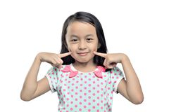 Portrait of asian little girl with fingers on cheek stock images