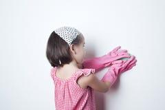 Portrait of asian little girl, little mother`s helper Stock Photography