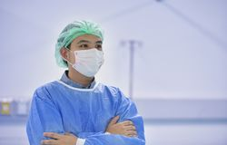 Portrait of Asian male surgeon with mask. Ready for operation in hospital Stock Image