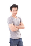 Portrait of asian man, arm crossing, white background Royalty Free Stock Photography