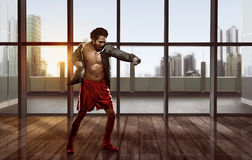 Portrait of asian man practicing boxing Stock Image