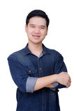 Portrait of asian man wearing jeans shirt Royalty Free Stock Image