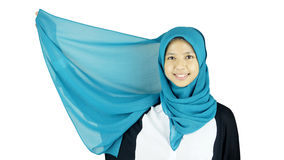 Portrait of asian moslem girl Stock Photos