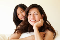Portrait Asian mother and daughter Royalty Free Stock Images