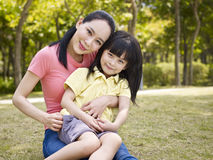 Portrait of asian mother and daughter Royalty Free Stock Photo