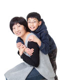 Portrait of Asian Mother and Son in Jovial Pose Royalty Free Stock Image