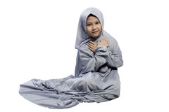 Portrait of asian muslim child with smile face Royalty Free Stock Photo