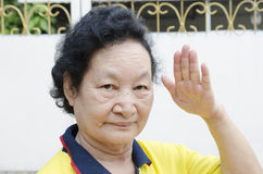 Portrait of Asian Senior with counting hand Stock Photos