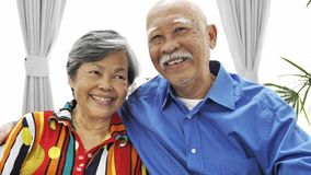 Portrait of asian senior couple looking a camera with smile face, stock video