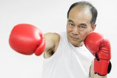Portrait of Asian senior fighter man punching with red boxing gl. Oves on white background Stock Photo