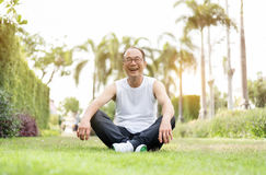 Portrait of Asian senior man relaxing and sitting on grass at th. E park. Happiness, smiling Stock Photos