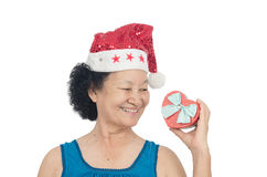 Portrait of asian senior woman holding gift box Royalty Free Stock Photography