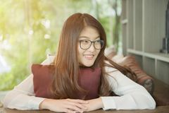 Portrait of Asian sexy business woman with a laptop Royalty Free Stock Photos