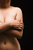 Portrait of a Asian sexy woman covering her breast. Royalty Free Stock Photo